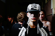 LONDON, ENGLAND - JANUARY 08: A model backstage ahead of the KTZ  during London Fashion Week Men's January 2017 collections at BFC Show Space on January 8, 2017 in London, England. (Photo by Ki Price/Getty Images)