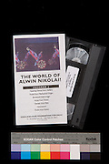 This version has reference numbers for the Nik/Louis Collection ..#34.DSC_2604.Reference number:  34_vhs_world_1996.Reference number:  4_4.2_4.2d_1_world.Item name:  Video cassette of ?The World of Alwin Nikolais?, program 2..Author:  Nikolais/Louis Foundation for Dance  .Date:  1996.Description:  Video cassette of program 2, of ?The World of Alwin Nikolais?, a 5 part series of dance performances.