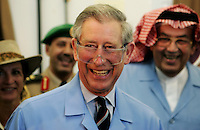 Prince Charles, Prince of Wales, wearing protective glasses, helps out in the workshop of a Technical and Vocational Training College in Riyadh, Saudia Arabia on March 26, 2006..Photo:  Anwar Hussein