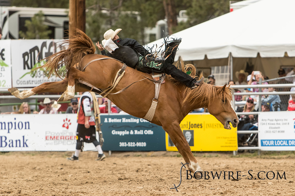 Bareback rider Blake Smith rides Summit Pro Rodeo's Spring Training during the third performance of the Elizabeth Stampede on Sunday, June 3, 2018.