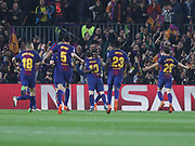 Barcelona's players celebrating Barcelona's Ousmane Dembélé goal during the Champions League match between Barcelona and Chelsea at Camp Nou, Barcelona, Spain on 14 March 2018. Picture by Ahmad Morra.