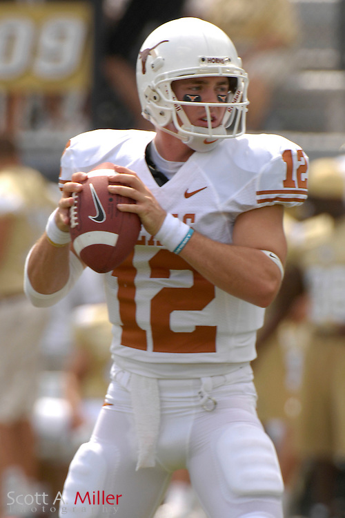 Sept. 15, 2007; Orlando, FL, USA; Texas Longhorns quarterback (12) Colt McCoy in action against the Central Florida Knights during the first half at Bright House Stadium. Texas won the game 35-32. ..©2007 Scott A. Miller