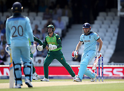England's Jonny Bairstow is caught by South Africa's Quinton de Kock during the ICC Cricket World Cup group stage match at The Oval, London.