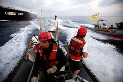 ISRAEL MEDITERRANEAN SEA JUL10 - Greenpeace activists board the 290-meter long coal ship Orient Venus on the high seas to delay it from entering Israel. The action held is part of Greenpeace's campaign against building another coal power station in Israel...jre/Photo by Jiri Rezac / Greenpeace