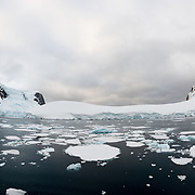 Plates of sea ice float on the water surface of the Lemaire Channel on the Antarctic Peninsula.