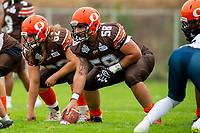 KELOWNA, BC - SEPTEMBER 8:  Danil Balan #58 of Okanagan Sun lines up to hike the ball against the Langley Rams  at the Apple Bowl on September 8, 2019 in Kelowna, Canada. (Photo by Marissa Baecker/Shoot the Breeze)