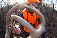 DEER HUNTER WEARING REALTREE AP CAMOUFLAGE AND BLAZE ORANGE USING RATTLING ANTLERS TO CALL DEER