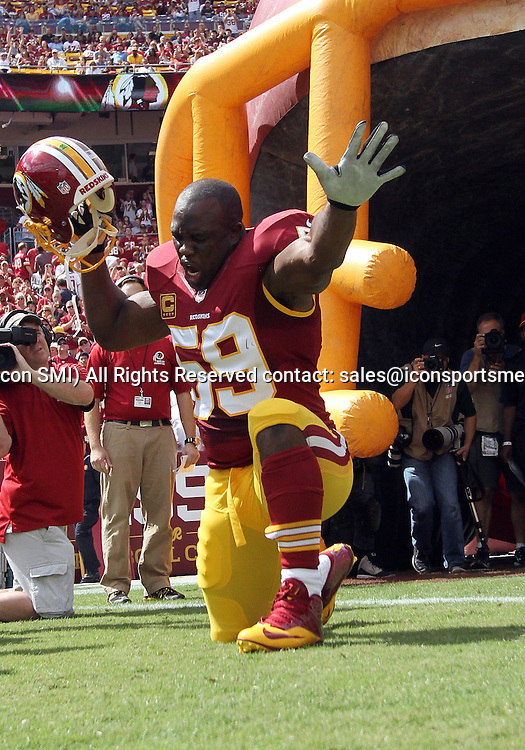 September 22, 2013: Washington Redskins Linebacker London Fletcher (59) is introduced before a regular season match between the Detroit Lions and the Washington Redskins at FedEx Field in Landover, Maryland.