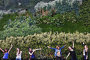 "Women pose in front of the GE Ecomagination project at the National gallery in Trafalgar Square. Using over 8,000 plants, GE (General Electric) has brought to life Van Gogh's 'A Wheatfield, with Cypresses' in a 'living wall' outside the front of the National Gallery. There are many ways to make things green but the National Gallery and GE's ecoimagination project did it in a particularly inspiring way, producing a unique living wall representing of one of Van Gogh's most famous paintings. Depicting ""A Wheat Field with Cypresses"", the wall is made from 8,000 plants and can be seen in London's Trafalgar Square"