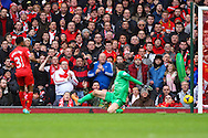 Raheem Sterling of Liverpool scores to make it 5-0 during the Barclays Premier League match at Anfield, Liverpool<br /> Picture by David Horn/Focus Images Ltd +44 7545 970036<br /> 08/02/2014