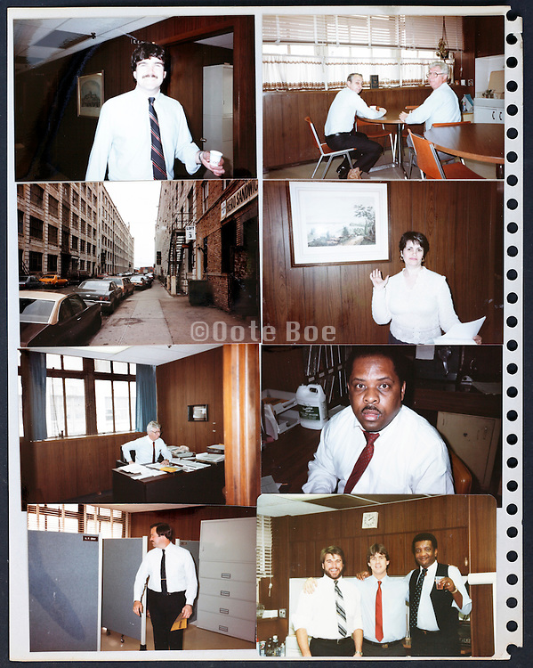 page from a photo album with company office workers USA 1985