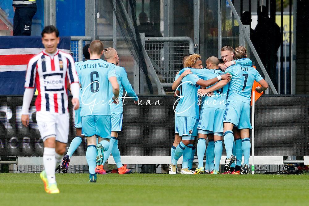 02-10-2016 VOETBAL:WILLEM II - FEYENOORD:TILBURG<br /> Nicolai Jorgenson van Feyenoord viert zijn doelpunt met Tonny Vilhena van Feyenoord en Dirk Kuyt van Feyenoord en Karim El Ahmadi van Feyenoord <br /> <br /> <br /> Foto: Geert van Erven