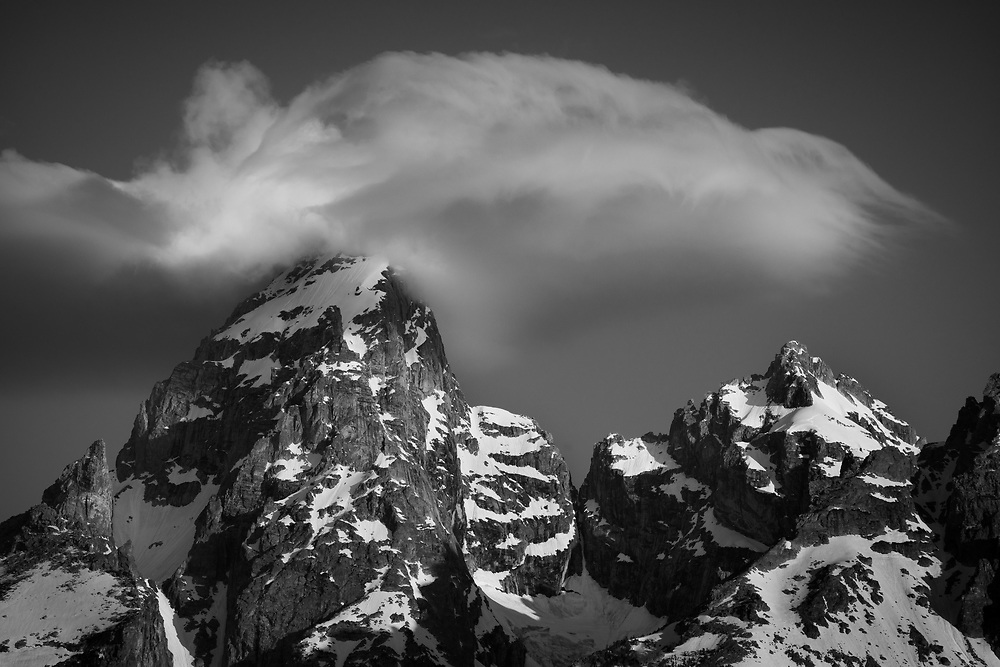 Intimate black and white shot of the Grand Teton, Grand Teton National Park, Wyoming