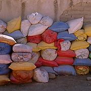 """Sacks of Quinoa at a processing factory in Challapata, Bolivia. .The nutritional qualities of the seed have generated a new export market for South American farmers. Demand for the grain-like seed are increasing due to its nutritional benefits. Quinoa contains more protein than any other """"grain"""" and includes all eight essential amino acids needed for tissue development. Quinoa has been cultivated in the Andes since 3000BC. Challapata, Bolivia, 12th May 2011. Photo Tim Clayton"""