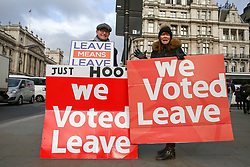 © Licensed to London News Pictures. 09/01/2019. London, UK. Pro-Brexit demonstrators protest outside the Houses of Parliament on the first day of the Meaningful Vote debate. At the end of the five day debate the MPs will vote on Prime Minister, Theresa May's Brexit deal. Photo credit: Dinendra Haria/LNP