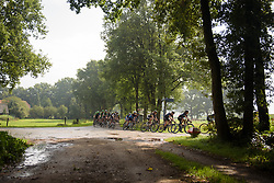 Peloton stream around a corner as the sun makes a brief appearance at Boels Rental Ladies Tour Stage 2 a 132.8 km road race from Eibergen to Arnhem, Netherlands on August 30, 2017. (Photo by Sean Robinson/Velofocus)