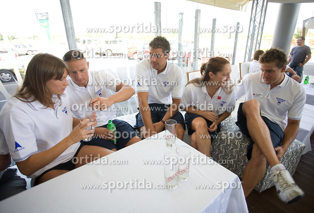 Sara Isakovic, Emil Tahirovic, Damir Dugonjic, Anja Klinar and Jernej Godec at press conference of Slovenian swimmers before World Championships in Rome, on July 23 2009, in Kranj, Slovenia. (Photo by Vid Ponikvar / Sportida)