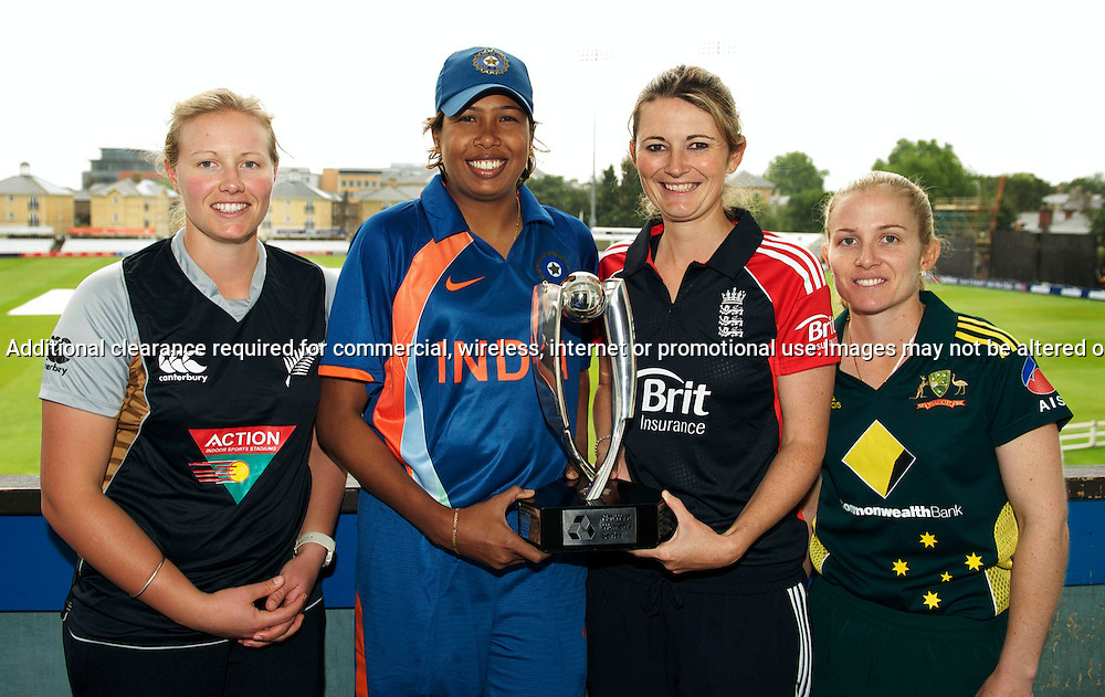 22.6.2011. Aimee Watkins, New Zealand Women's cricket captain, Jhulan Goswami, India Women's cricket captain, Charlotte Edwards, England Women's cricket captain, Jodie Fields, Australia Women's cricket captain pose for the media at the NatWest Women's Quadrangular Series between England, Australia, New Zealand and India, Launch at Essex CCC, The Ford County Ground, Chelmsford, Essex, England. 22 June 2011. Photo Michael Paler/ Photosport.co.nz