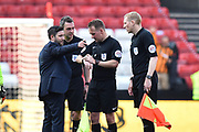 Bristol City manager Lee Johnson has words with referee Oliver Langford at full time after a 5-5 draw during the EFL Sky Bet Championship match between Bristol City and Hull City at Ashton Gate, Bristol, England on 21 April 2018. Picture by Graham Hunt.