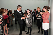 JAY JOPLIG; ANGELICA JOPLING, Opening of new White Cube Gallery in Bermondsey. London. 11 October 2011. <br /> <br />  , -DO NOT ARCHIVE-© Copyright Photograph by Dafydd Jones. 248 Clapham Rd. London SW9 0PZ. Tel 0207 820 0771. www.dafjones.com.