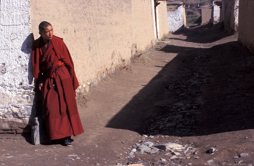 On the street between the houses of the monnks..LAMBRANG MONASTERY IN XIAHE - CHINA.copyright: Androniki Christodoulou.