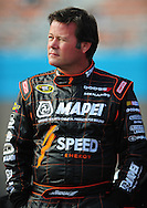 Nov. 12 2011; Avondale, AZ, USA; NASCAR Sprint Cup Series driver Robby Gordon (7) reacts on pit road during qualifying for the Kobalt Tool 500 at Phoenix International Raceway. Mandatory Credit: Jennifer Stewart-US PRESSWIRE