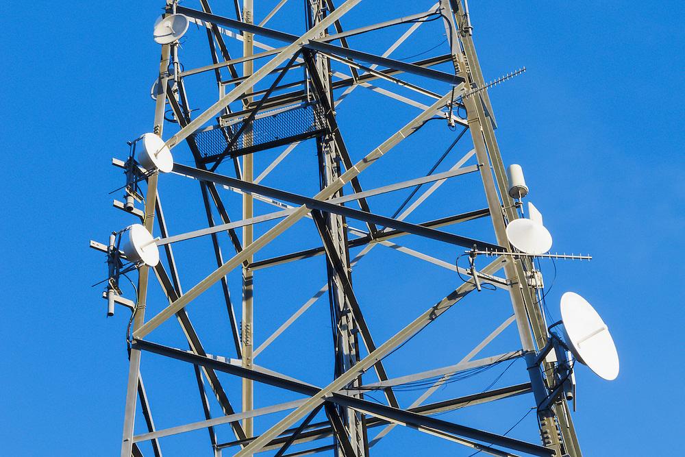 Radio transmission dish and yagi antenna on tower