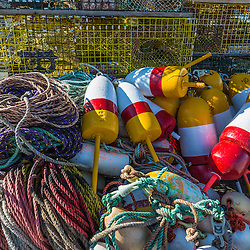 Lobster traps and buoys in Vinalhaven, Maine.