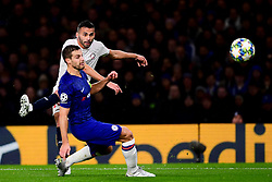 Thiago Maia of Lille is marked by Cesar Azpilicueta of Chelsea - Mandatory by-line: Ryan Hiscott/JMP - 10/12/2019 - FOOTBALL - Stamford Bridge - London, England - Chelsea v Lille - UEFA Champions League group stage