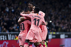 December 8, 2018 - Barcelona, Catalonia, Spain - 10 Leo Messi of FC Barcelona celebrating his goal with the team during the Spanish championship La Liga football match between RCD Espanyol v FC Barcelona on December 08, 2018 at RCD Stadium stadium in Barcelona, Spain. (Credit Image: © Xavier Bonilla/NurPhoto via ZUMA Press)