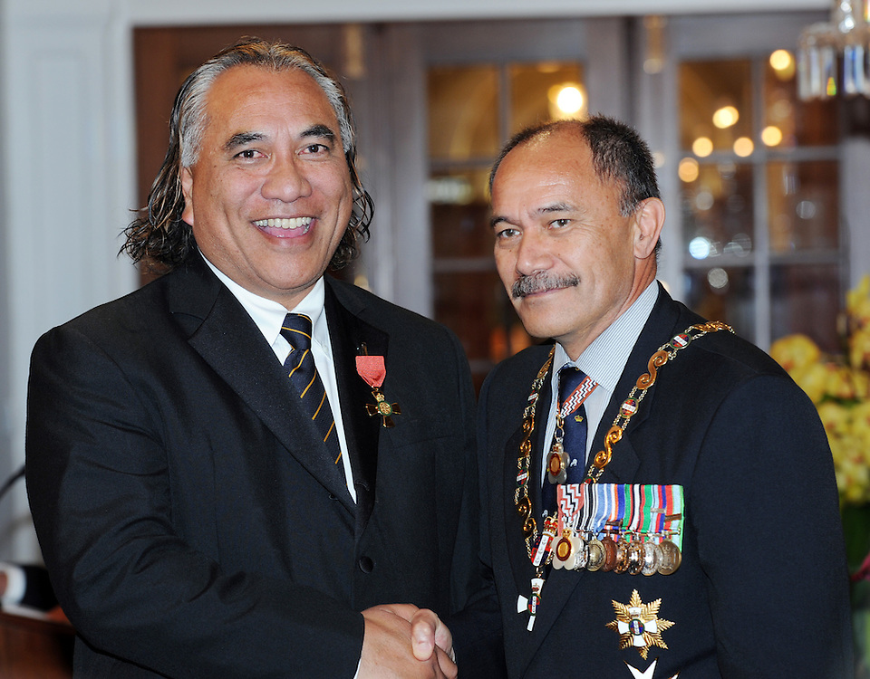 Uluomatootua Aiono, Auckland, receives an Officer of the New Zealand Order of Merit from the Governor General Sir Jerry Mateparae at the Investiture ceremony at Government House, Wellington, New Zealand, Thursday, May 03, 2012. Credit:SNPA / Ross Setford