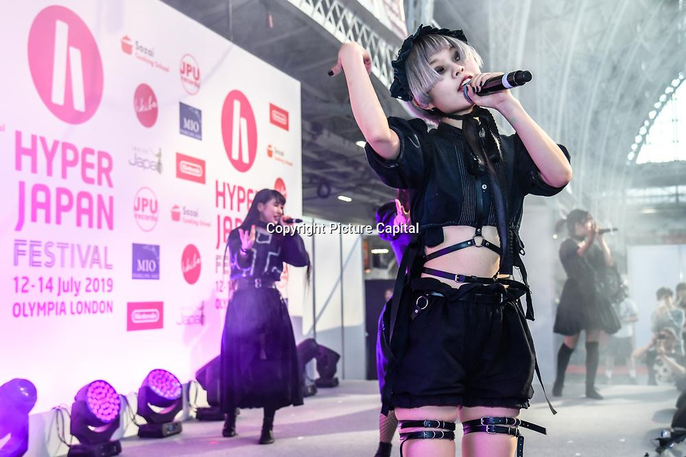 NECRONOMIDOL at Hyper Japan Festival 2019 on 12 July 2019, Olympia London, UK.