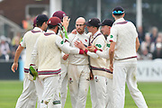 Wicket - Jack Leach of Somerset celebrates taking the wicket of Dawid Malan of Middlesex during the Specsavers County Champ Div 1 match between Somerset County Cricket Club and Middlesex County Cricket Club at the Cooper Associates County Ground, Taunton, United Kingdom on 26 September 2017. Photo by Graham Hunt.