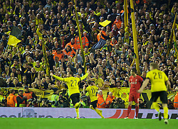 LIVERPOOL, ENGLAND - Thursday, April 14, 2016: Borussia Dortmund's Marco Reus celebrates scoring the third goal against Liverpool during the UEFA Europa League Quarter-Final 2nd Leg match at Anfield. (Pic by David Rawcliffe/Propaganda)