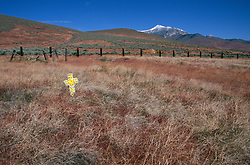&quot;Cross in Unionville, Nevada&quot; - Unionville was once a busy mining town off the now Hwy 400. Star Peak can be seen in the distance. <br />
