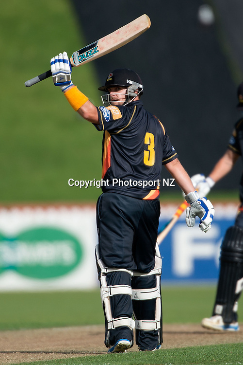 Michael Papps of Wellington celebrates 50 runs during the Ford Trophy One Day cricket match between the Wellington Firebirds and Central Districts at the Basin Reserve in Wellington on Sunday the 23rd March 2014.  Photo by Marty Melville/Photosport.co.nz