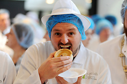 Scotch Pie Championships_Dunfermline Blcc_20-11-2019<br /> <br /> Outlander star, Scott Kyle guest judge tries a pie<br /> <br /> (c) David Wardle | Edinburgh Elite media