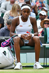 © Licensed to London News Pictures. 08/07/2019. London, UK. Cori Gauff of the United States of America loses to Simona Halep of Romania in the forth round of the ladies singles draw of the Wimbledon Tennis Championships 2019 on Day 7 held at the All England Lawn Tennis and Croquet Club. Photo credit: Ray Tang/LNP