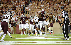 Texas A&M's Tra Carson skips into the endzone for a touchdown during the fourth quarter of the Aggies 30-17 win over Mississippi State on Saturday at Kyle Field.
