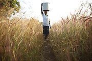 Abdulai Sadia carries water back from a pump near her parents' home in Gushegu, Northern Ghana, on Wednesday November 2, 2011.