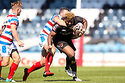 Bradford Bulls loose forward Ross Peltier (17) is tackled around the neck during the Kingstone Press Championship match between Rochdale Hornets and Bradford Bulls at Spotland, Rochdale, England on 18 June 2017. Photo by Simon Davies.