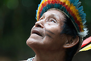 Don Raphael, the chief of the three tribes of the Boras in the Peruvian Amazon looks skyward during a break in the rain.