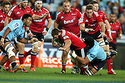 Ben Funnell tackled. NSW Waratahs v Canterbury Crusaders. Sport Rugby Union Super Rugby Representative Provincial. ANZ Stadium. 23 May 2015. Photo by Paul Seiser/SPA Images
