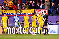 CF Rostov's player Andrei Prepelita, Vladimir Granat, Miha Mevlja and César Navas during a match of UEFA Champions League at Vicente Calderon Stadium in Madrid. November 01, Spain. 2016. (ALTERPHOTOS/BorjaB.Hojas)