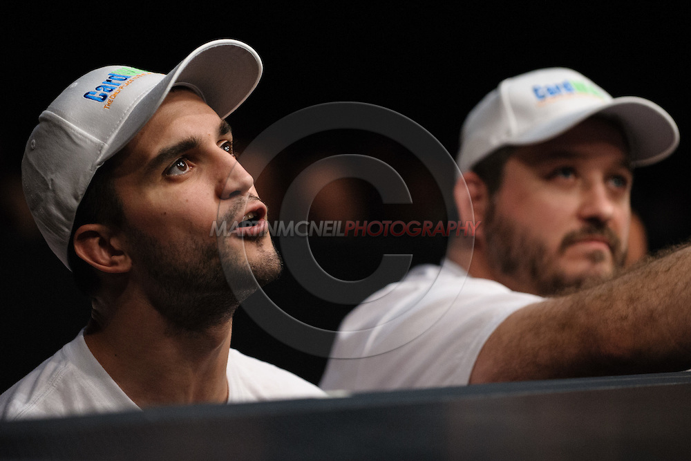 "SYDNEY, AUSTRALIA, FEBRUARY 27, 2011: Matt Phinney (left) and Tim Burrill worked the corner for Jorge Rivera (not pictured) during ""UFC 127: Penn vs. Fitch"" inside Acer Arena in Sydney, Australia on February 27, 2011."