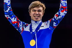 13-01-2019 NED: ISU European Short Track Championships 2019 day 3, Dordrecht<br /> Semen Elistratov of Russia pose in the Men's 1000m medal ceremony during the ISU European Short Track Speed Skating Championships