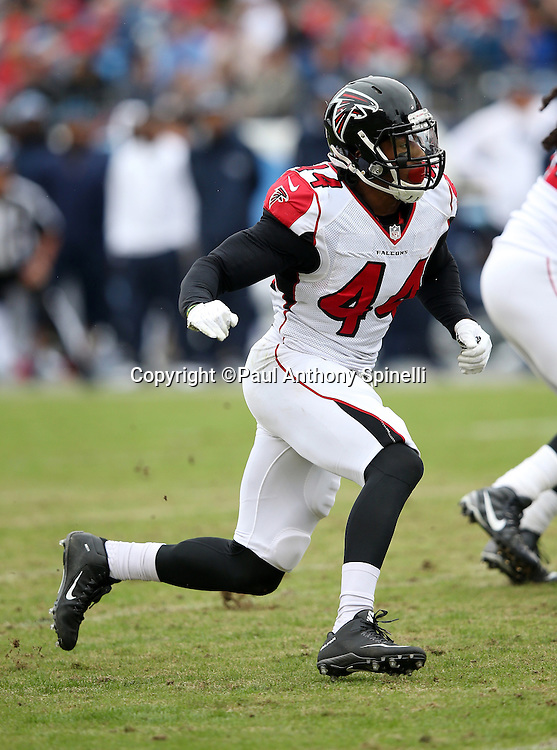 Atlanta Falcons defensive end Vic Beasley Jr. (44) rushes the quarterback during the 2015 week 7 regular season NFL football game against the Tennessee Titans on Sunday, Oct. 25, 2015 in Nashville, Tenn. The Falcons won the game 10-7. (©Paul Anthony Spinelli)