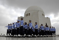 September 6, 2017 - Pakistani Air Force cadets march during a ceremony to mark the country's Defense Day at the mausoleum of the country's founder Mohammad Ali Jinnah in southern Pakistan's Karachi. Pakistan marked its 52nd anniversary of the war with India in 1965, or the Defense Day, on Wednesday to commemorate the people and soldiers who lost their lives in the war. (Credit Image: © Masroor/Xinhua via ZUMA Wire)