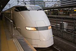 "Asia, Japan, Kanagawa prefecture, Odawara, bullet train (""shinkansen"") in station"