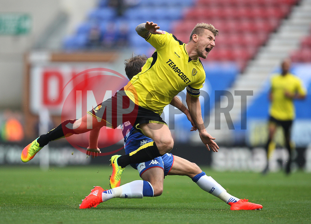 Kyle McFadzean of Burton Albion (L) and Nick Powell of Wigan Athletic in action - Mandatory by-line: Jack Phillips/JMP - 15/10/2016 - FOOTBALL - DW Stadium - Wigan, England - Wigan Athletic v Burton Albion - EFL Championship